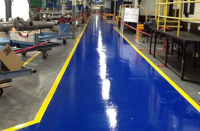 stonclad ht flooring in aerospace manufacturing facility